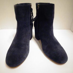 SPLENDID Blue Suede Ankle Heeled Boots Size 8